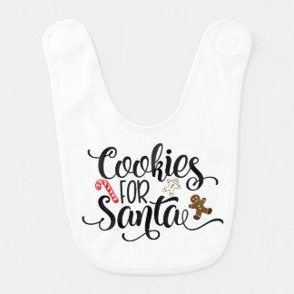 Biscoitos para o babador do bebê do papai noel