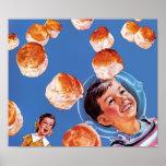 Biscoitos retros do menino do astronauta impressão
