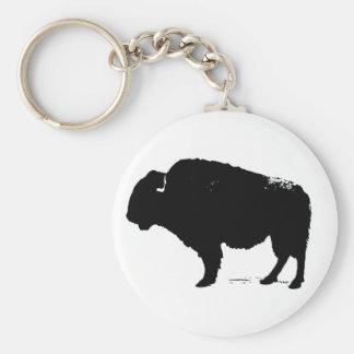 Bisonte preto & branco do búfalo do pop art chaveiro