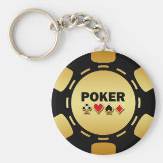 BLACK AND GOLD POKER CHIP KEY CHAINS