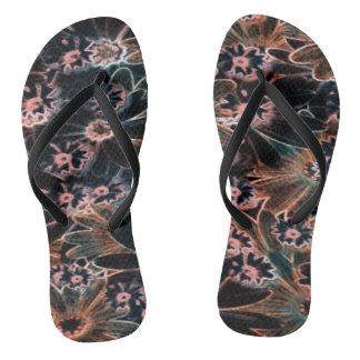 Black_Pink_Orange floresce pares de chinelos