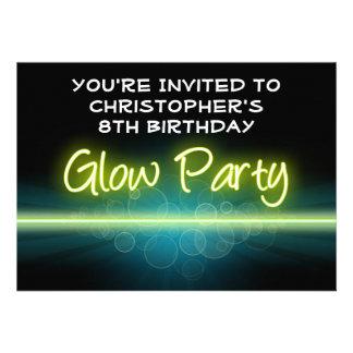 Blacklight azul amarelo da festa de aniversário do convite personalizados