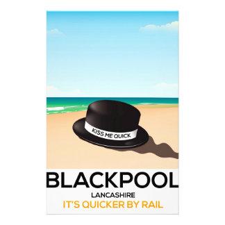 """Blackpool """"beija-me rapidamente"""" poster do trem do papelaria"""