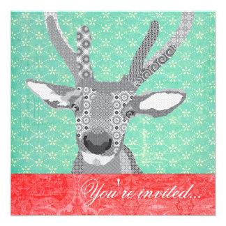 Blak & vermelho branco de turquesa da rena convites personalizado