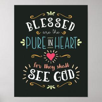 Blessed é a pura no impressão da arte do coração