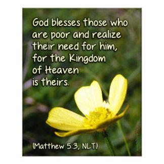 Blessed é o cartão pobre da escritura flyer 11.43 x 14.22cm