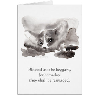 """""""Blessed é os mendigos…"""" Cartão dos Beatitudes do"""