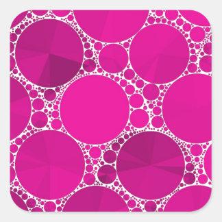 Bling cor-de-rosa fluorescente adesivo quadrado