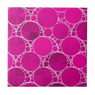 Bling cor-de-rosa fluorescente azulejo quadrado pequeno