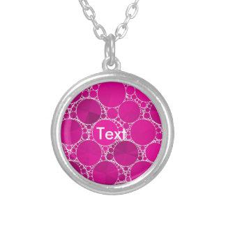 Bling cor-de-rosa fluorescente colar com pendente redondo