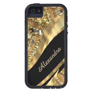 Bling elegante chique do preto e do ouro capa para iPhone 5