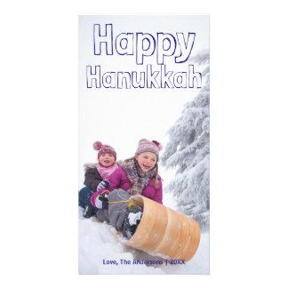 Bloco azul feliz de Hanukkah - cartões de fotos Cartão Com Foto