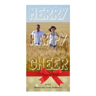 Bloco branco do elogio feliz alegre - cartão com cartão com foto