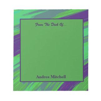 Bloco De Anotação Abstrato moderno da abanada do verde azul