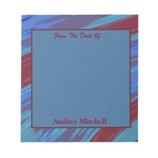 Bloco De Anotação Abstrato moderno da abanada do vermelho azul