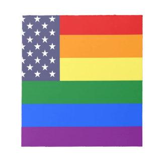 Bloco De Anotação Bandeira do orgulho do arco-íris dos E.U.