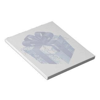 Bloco De Anotação Caixa de presente azul com fita azul