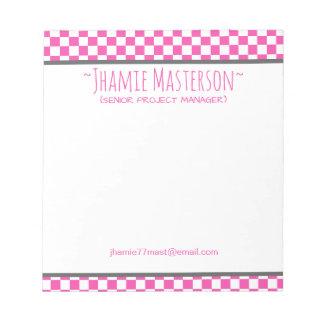 Bloco De Anotação Checkered cor-de-rosa