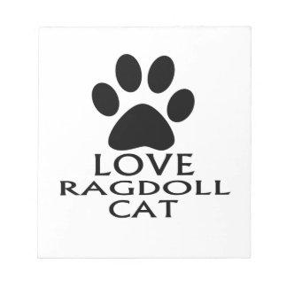 BLOCO DE ANOTAÇÃO DESIGN DO CAT DO AMOR RAGDOLL
