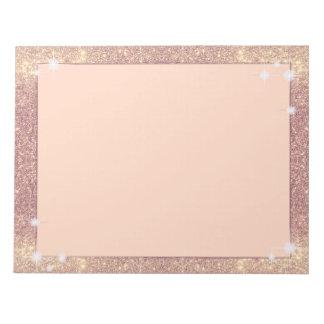 Bloco De Anotação Falso cor-de-rosa da faísca do ouro do brilho