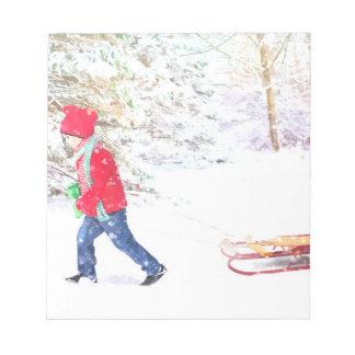 Bloco De Anotação Feriados do Natal do menino do trenó do inverno da