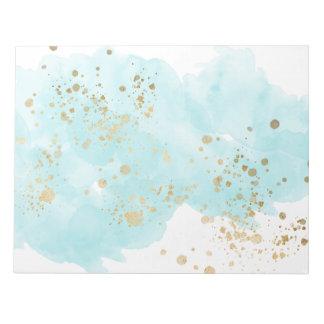 Bloco De Anotação O azul etéreo nubla-se o Spatter do ouro