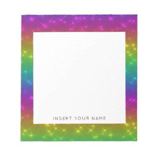 Bloco De Anotação Os Sparkles do arco-íris personalizaram o bloco de
