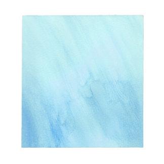 Bloco De Anotação Pintura azul da aguarela da água da chuva da chuva