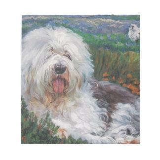 Bloco De Anotação Pintura inglesa velha bonita da arte do cão do