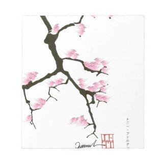 Bloco De Anotação sakura com os pássaros cor-de-rosa por fernandes