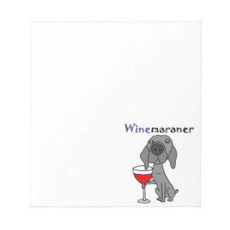 Bloco De Anotação Vinho tinto engraçado do bebendo do cão de