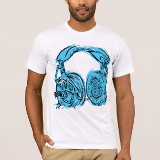 Bloco de desenho dos fones de ouvido tshirt