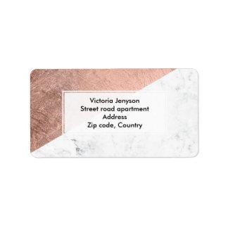 Bloco de mármore branco da cor do ouro cor-de-rosa etiqueta de endereço