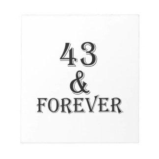 Bloco De Notas 43 e para sempre design do aniversário