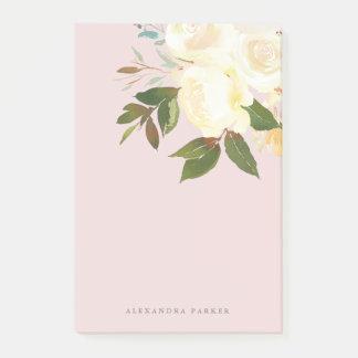 Bloco De Notas A aguarela do marfim floral cora sobre