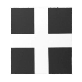 Bloco De Notas A bandeira de Piran Cornish do santo - bandeira de