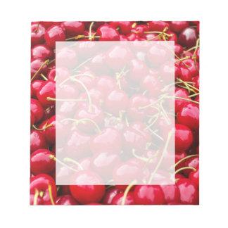 Bloco De Notas a cereja vermelha bonito deliciosa frutifica