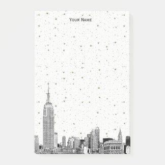 Bloco De Notas A skyline 01 Etchd DIY BG de NYC colore estrelado