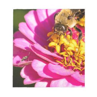 Bloco De Notas abelha e inseto que estão em uma flor roxa