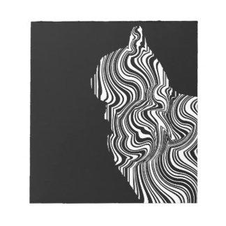 Bloco De Notas Abstract Black and White Cat Swirl Monochroom