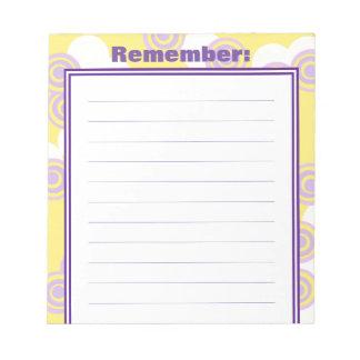 Bloco de notas alinhado customizável do amarelo