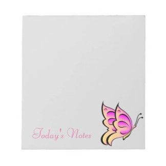 Bloco De Notas Almofada de nota cor-de-rosa da borboleta
