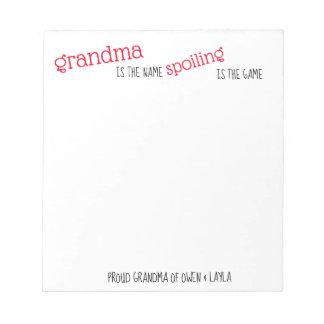 Bloco De Notas Almofada de nota da avó