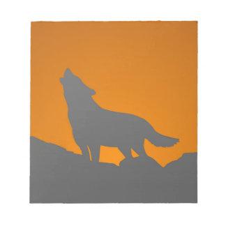 Bloco De Notas Almofada de nota do lobo do urro