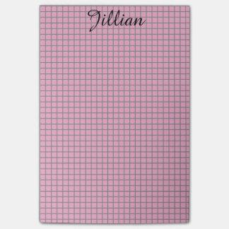 Bloco De Notas Anos 50 cor-de-rosa e grade cinzenta