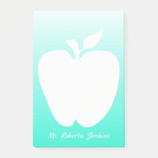Bloco De Notas Apple mostra em silhueta a almofada de nota do