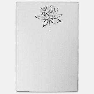 Bloco De Notas Arte preto e branco do desenho da tinta da flor de