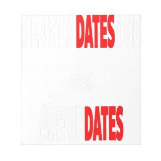 Bloco De Notas As únicas datas onde eu obtenho são actualizações