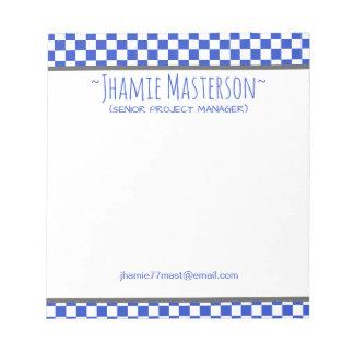 Bloco De Notas Azul Checkered