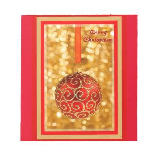 Bloco De Notas Bauble do Feliz Natal no ouro